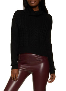 Solid Cable Knit Turtleneck Sweater - 3403015990080