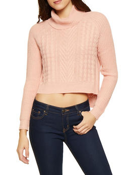 Cable Knit Turtleneck Sweater - Pink - Size M - 3403015992080