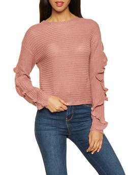 Ruffle Sleeve Sweater - 3403015992440