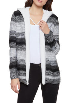 Sherpa Hooded Striped Cardigan - 3403015992661
