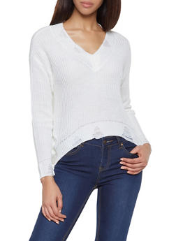 Distressed High Low Sweater - 3403015992830
