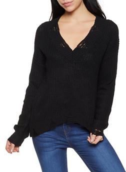 Frayed Knit Sweater - 3403015992831