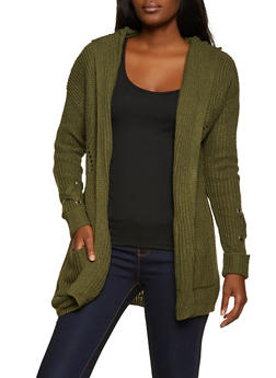 Lace Up Sleeve Hooded Cardigan - 3403015994560