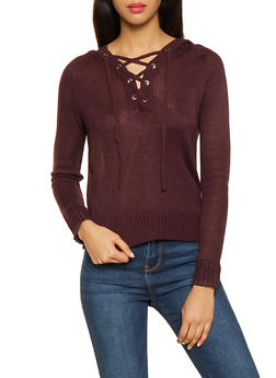 Lace Up Hooded Sweater - 3403015994883