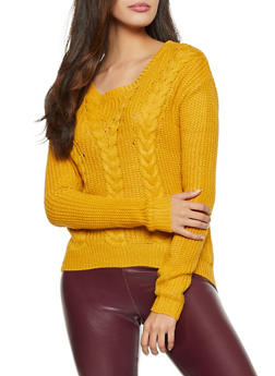 Lace Up V Back Sweater - 3403015995000