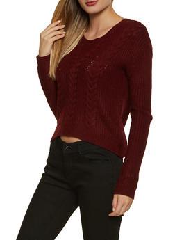 Lace Up V Back Sweater - 3403015995000