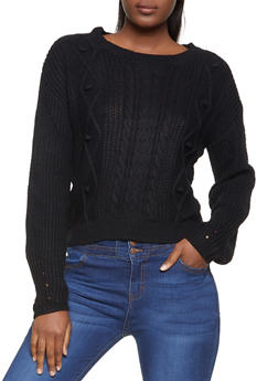 Cable Knit Pom Pom Sweater - 3403015995324