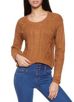 Cable Knit Pom Pom Sweater - 3403015995324