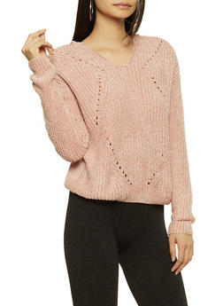 Hooded Chenille Sweater - 3403015995510