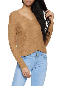 Lace Up Sleeve Sweater - 3403015995580
