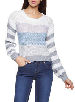 Striped Crew Neck Sweater - 3403015995690