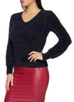 Eyelash Knit V Neck Sweater - 3403015995720