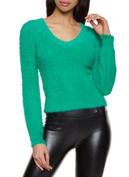 Eyelash Knit V Neck Sweater - 3403015995720