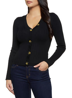 Button Detail Rib Knit Sweater - 3403015995780