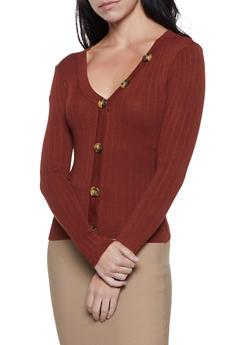 Button Detail Rib Knit Sweater - 3403015995780