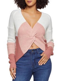 Twist Front Color Block Sweater - 3403015996030