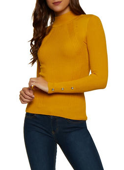Snap Sleeve Mock Neck Sweater - 3403015996080