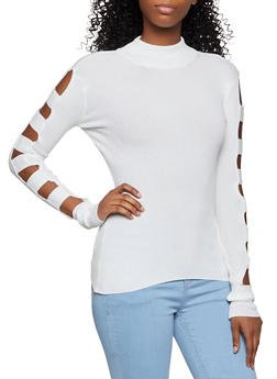 Caged Sleeve Mock Neck Sweater - 3403015996100