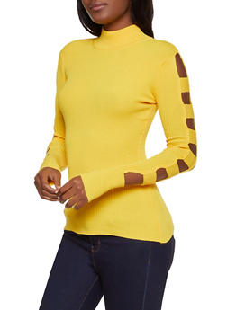 Caged Sleeve Mock Neck Sweater - 3403015996100