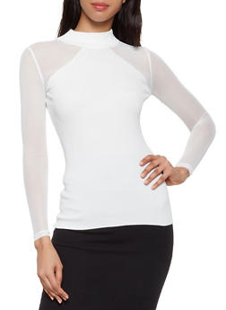 Mesh Sleeve Mock Neck Sweater - 3403015996110
