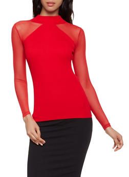 Mesh Sleeve Mock Neck Sweater - 3403015996110