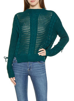 Lace Up Sleeve Cable Knit Sweater - 3403015996140