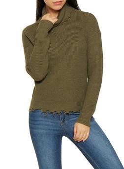 Frayed Turtleneck Sweater - 3403015996150