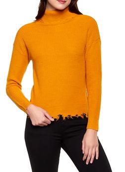 Frayed Turtleneck Sweater - Orange - Size S - 3403015996150