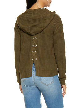 Lace Up Back Hooded Sweater - 3403015996220