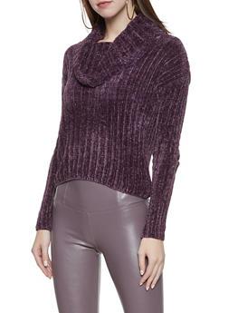 Cowl Neck Chenille Sweater - 3403015996480