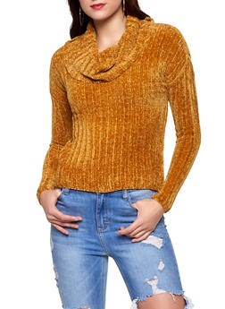 Cowl Neck Chenille Sweater - 3403015996480