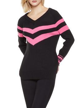 Stripe Detail V Neck Sweater - 3403015996591