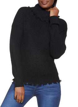 Frayed Knit Turtleneck Sweater - 3403015997150