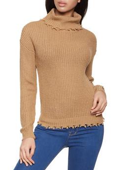 Frayed Knit Turtleneck Sweater - 3403015997150