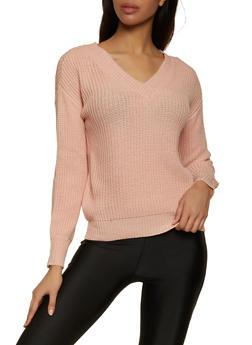 V Neck Long Sleeve Sweater - 3403015999000