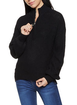 Zip Neck Knit Sweater - 3403015999710