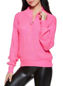 Zip Neck Knit Sweater - 3403015999710