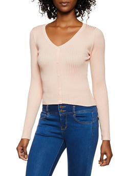 V Neck Button Detail Sweater - 3403038209035