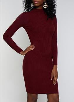 Lettuce Edge Mock Neck Sweater Dress - 3403054212811