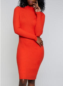 Lettuce Edge Mock Neck Sweater Dress - 3403054212811