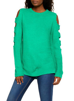 Cut Out Sleeve Sweater - 3403061350002