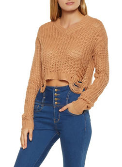 Slashed V Neck Sweater - 3403061350023