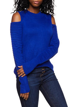Ribbed Trim Cold Shoulder Sweater - 3403061350032