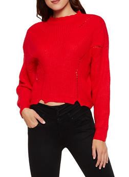 Mock Neck Knit Sweater - 3403061350063