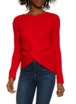 Twist Front V Neck Sweater - 3403061350078