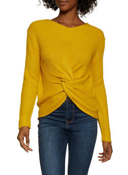 Twist Front V Neck Sweater - 3403061350078