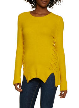 Lace Up Tunic Sweater - 3403061350154