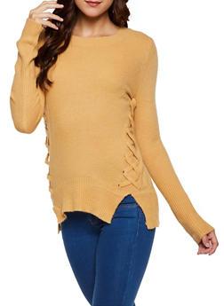 Lace Up Tunic Sweater - 3403061350154