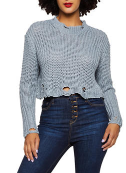 Distressed Long Sleeve Sweater - 3403061359090