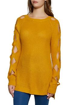 Caged Sleeve Crew Neck Sweater - 3403062702745